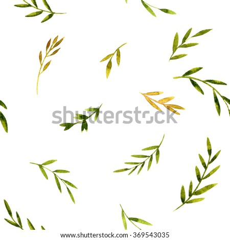 vector watercolor seamless pattern with green leaves , hand drawn vector background - stock vector