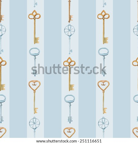 vector watercolor seamless pattern with keys.  It can be used for wallpaper, fabric design, textile design, cover, wrapping paper, banner, card, background