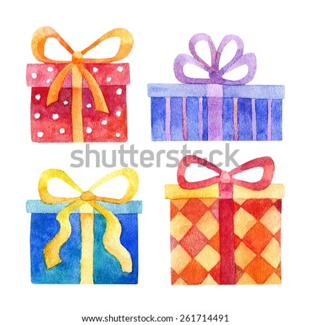 Vector watercolor set of blue, red, orange and purple gift boxes isolated on white