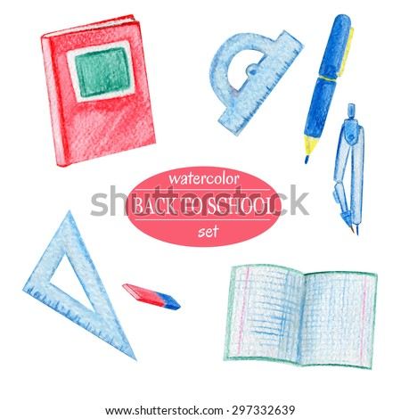 Vector watercolor set of school supplies in blue and red colors. Child pencil drawing style. Hand drawn book, eraser, exercise book, pen, compasses, protractor, triangular ruler. Back to school theme. - stock vector