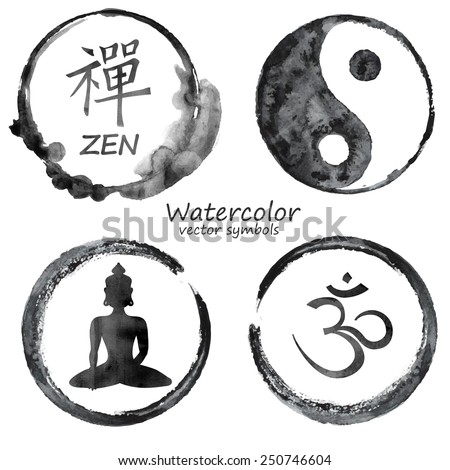Vector Watercolor Set Yoga Buddhism Label Stock Vector 250746604