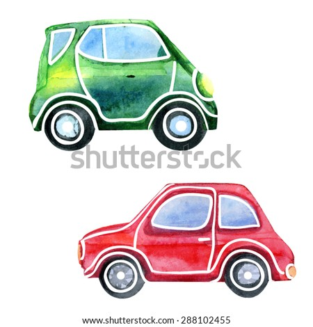 Vector watercolor sketchy illustration of two bright cars. Hand drawn isolated automobiles on white background. - stock vector