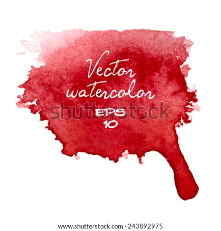 Vector watercolor stain, red. - stock vector