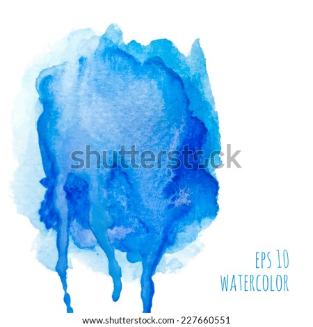Vector watercolor stain with streaks of paint. blue. template for packaging, wrappers, banner, in perfumes, cosmetics, cosmetology, feminine style, visual advertising, place or space for text. - stock vector
