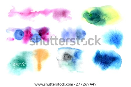 vector watercolor stains. Beautiful watercolor design elements. Vector illustration. Watercolor spots, isolated on a white background. vector abstract background. Watercolor technique on wet - stock vector