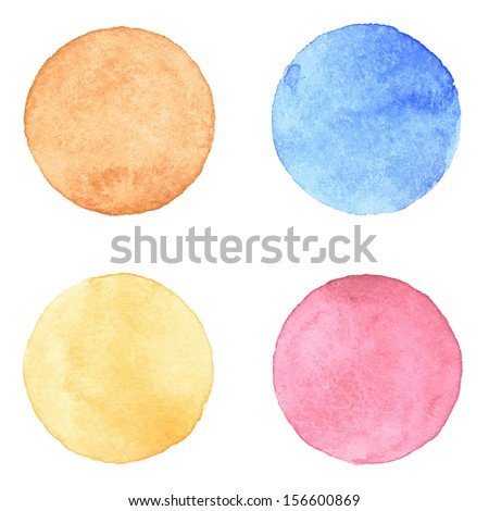 Vector watercolor stains. Watercolor circles collection. Watercolor stains set isolated on white background. Watercolour palette. - stock vector
