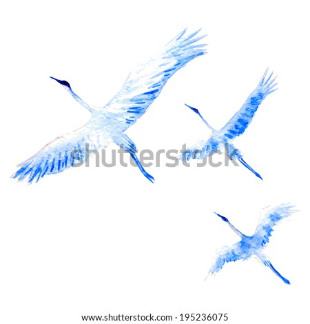 Vector watercolor-style flying crane on white background. - stock vector