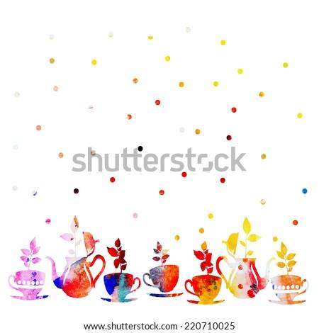 vector watercolor tea set with plants - stock vector