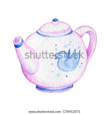 vector watercolor teapot of tea pink and porcelain - stock vector