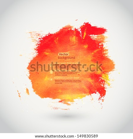 Vector watercolor texture. Orange grunge paper template. Water. Wet paper. Blobs, stain, paints blot. Abstract. Composition for scrapbook elements.Brushstrokes. Banner. - stock vector