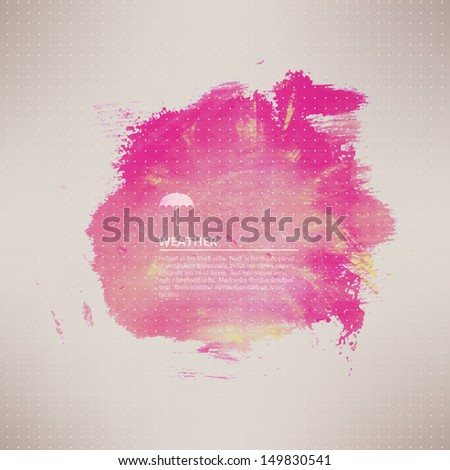 Vector watercolor texture. Pink grunge paper template. Water. Wet paper. Blobs, stain, paints blot.  Composition for scrapbook elements. Brushstrokes. Banner. - stock vector
