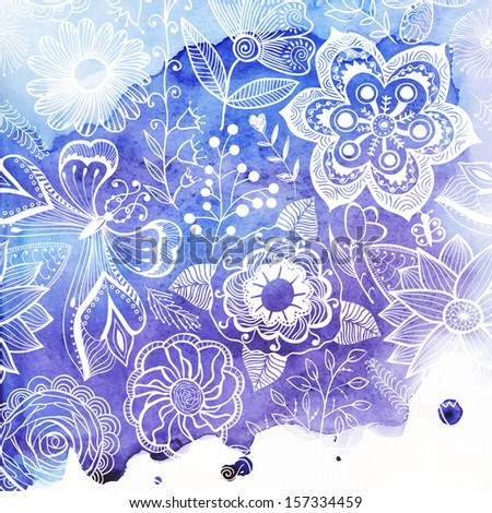 Vector watercolor texture with floral ornament. Wet paper. Blobs, stain, paints blot. Looks like ocean water or sky, maritime theme. Backdrop for scrapbook elements with space for text. Banner. - stock vector