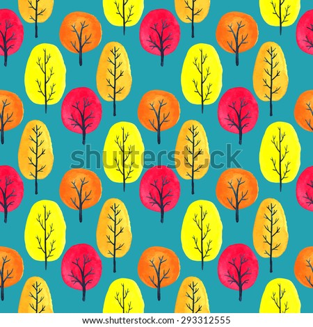 Vector watercolor tree seamless pattern. Bright colors: yellow, red, orange. - stock vector