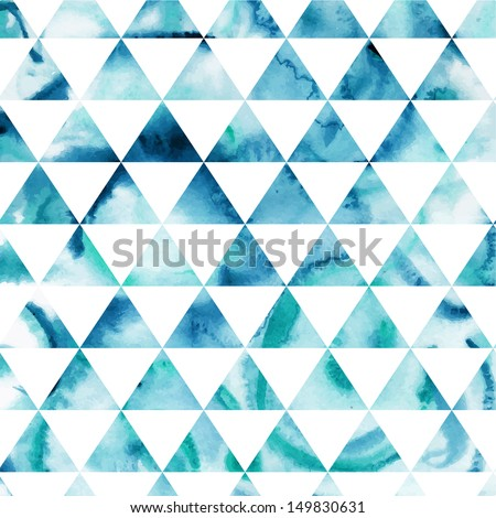 Vector watercolor triangles pattern. Modern hipster pattern. Colorful texture in hipster style. Geometry template. Grunge pattern.Retro triangle background. Bright pattern - stock vector