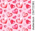 Vector watercolor Valentine's day seamless pattern with hearts - stock vector