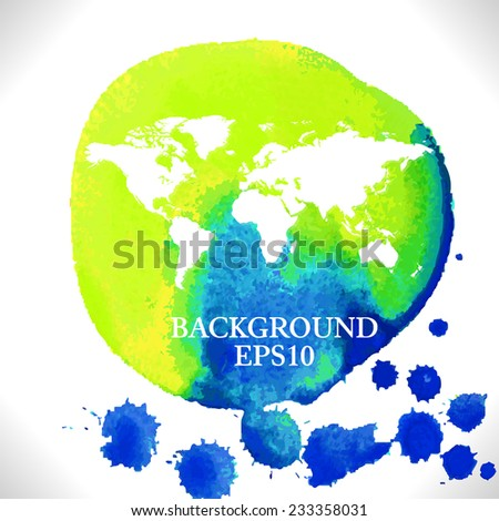 Vector watercolor World Map background - stock vector