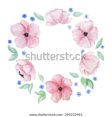 Vector watercolor wreath with pink flowers. Template for wedding invitation and save the date cards.   - stock vector
