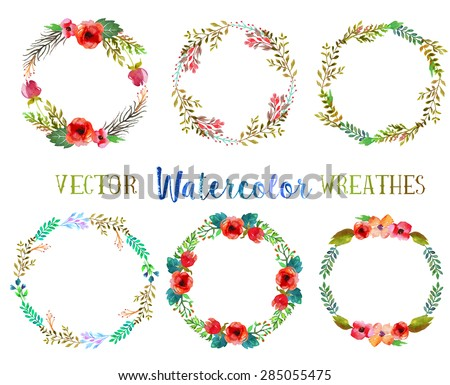 Vector watercolor wreathes with leaves and flowers.  - stock vector