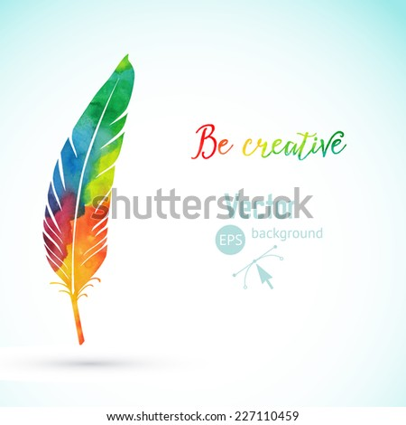 Vector watercolor writing feather. Colorful vector feather. Watercolor silhouette of feather - stock vector