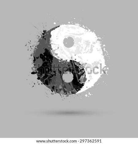 Vector watercolor. Ying yang symbol (harmony and balance) - stock vector