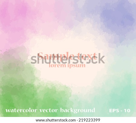 Vector watercolored style abstract  background - stock vector