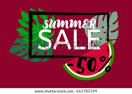 Vector watermelon and monstera leaves, black frame on red. Watermelon slice and tropical leaves summer sale 50% banner, botanical border, floral design. Discount poster background, trendy exotic frame
