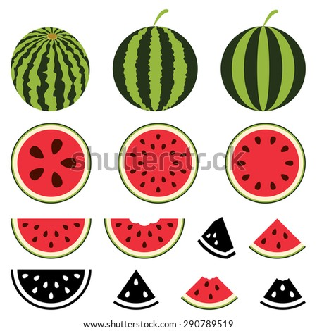 vector watermelon icons set - stock vector