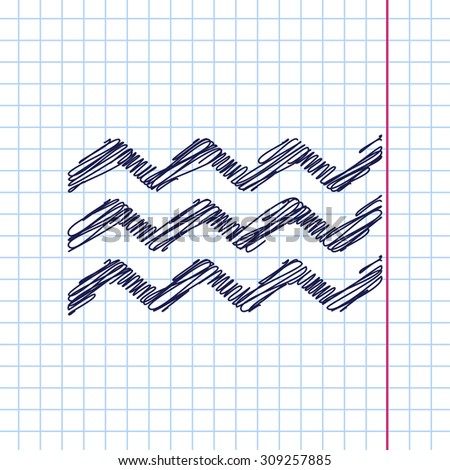 Vector waves icon isolated on copybook background. Eps10