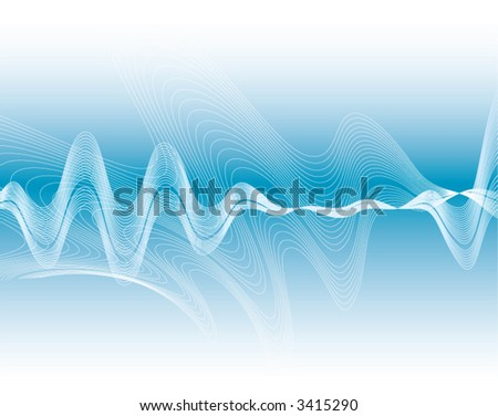 Vector Waves on a Blue Gradient - stock vector