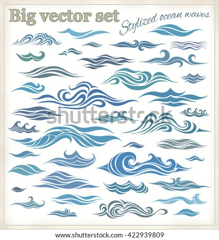Vector waves set of elements for design, silhouettes against a light background