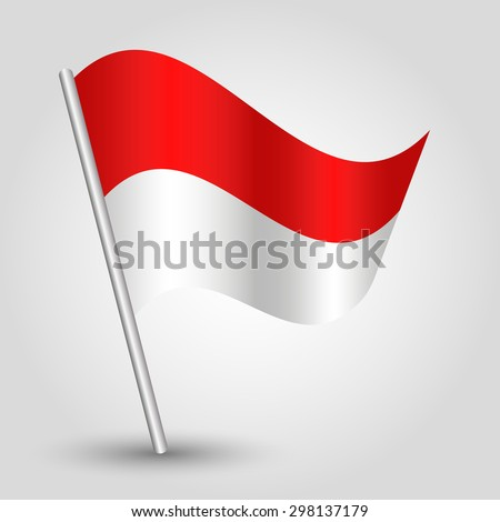 vector waving simple triangle flag on pole - national symbol of monaco with inclined metal stick