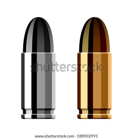 vector weapon gun bullet cartridge - stock vector