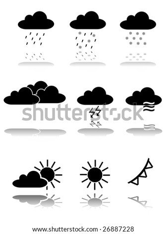 Vector Weather Forecast Icon Set - stock vector