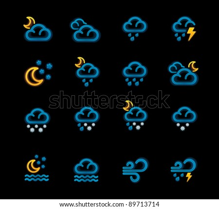 Vector weather forecast icons. Part 2 - stock vector