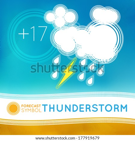 Vector weather forecast symbol for TV or web. Clouds - stock vector