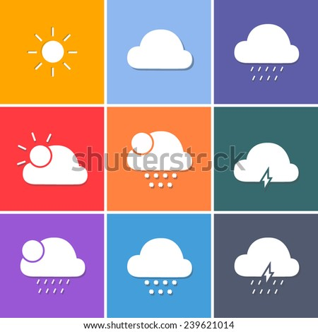 Vector Weather Forecast Symbols White Icons Stock Vector 239621014