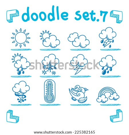 vector weather icon set doodle style - stock vector