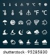 Vector weather icon set (p.2), 29x29 px and 50x50 px silver on dark background - stock vector