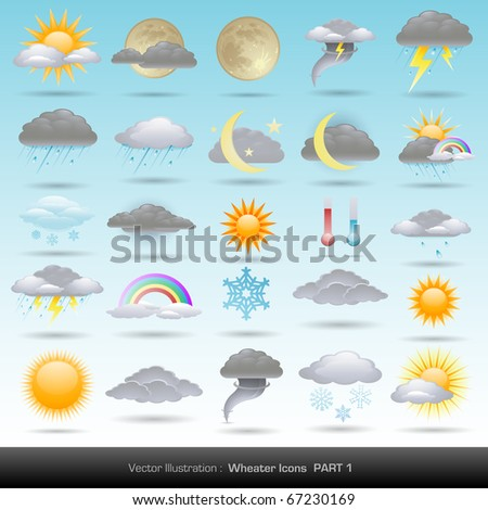 Vector weather icons collection - stock vector