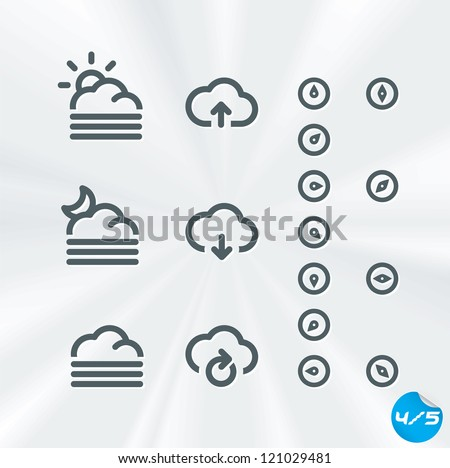 Vector Weather Icons Collection, Button, Sign, Symbol, Emblem, Sticker, Badge, Logo for Web Design, User Interface, Baby, Children, People - stock vector