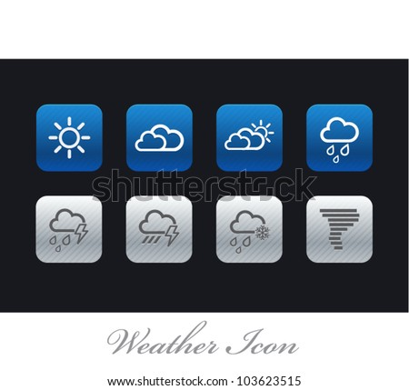 Vector Weather icons in three styles - stock vector