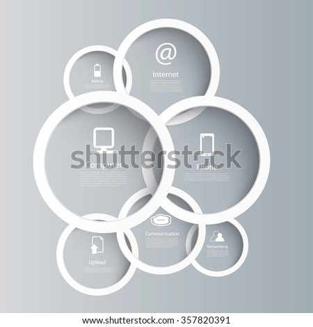 Vector web and computer icons in circle frames. - stock vector