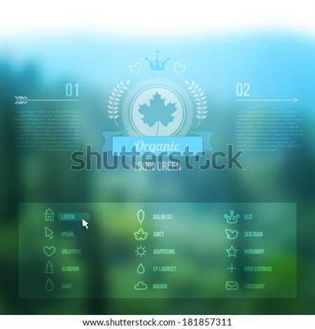 Vector web and mobile interface background. Corporate website design. Minimalistic media backdrop. Vector. Editable. Unfocused. Wreath. Mountain background. Badge. Blurred forest, icons set. - stock vector