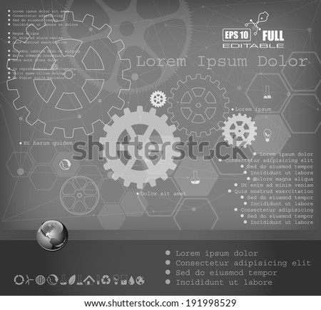 Vector web and mobile interface info graphic template. Flat corporate website design. Minimalistic multifunctional media background. Editable. Options, Icon, Banner. Industry and technology concept. - stock vector