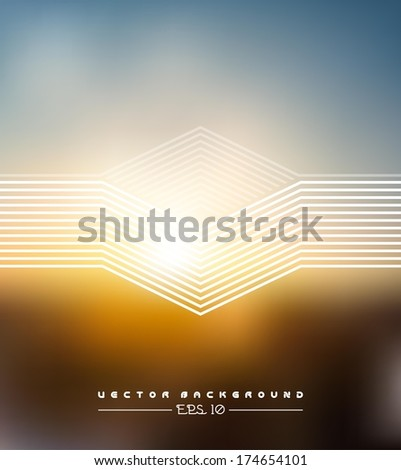 Vector web and mobile interface template. Corporate website design. Minimalistic multifunctional media backdrop. Editable. Blurred. Triangle badge label, view from the window,  sunset,Options, Icon - stock vector
