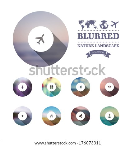 Vector web and mobile interface template. Corporate website design. Minimalistic multifunctional media backdrop. Vector. Editable. Blurred. Circle badge label, mountain landscape. Options, Icon - stock vector