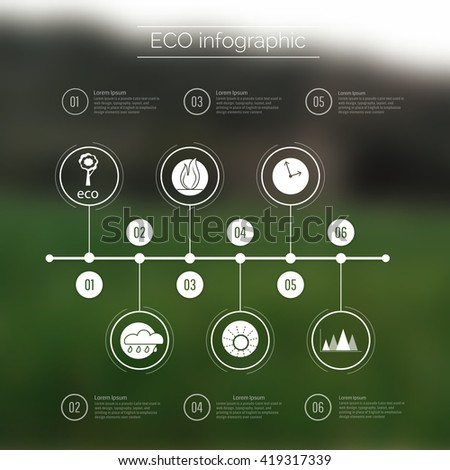 Vector web and mobile interface template. Corporate website design. Minimalistic multifunctional media backdrop. Vector. Editable. Blurred.Timeline  infographic, mountain landscape. Options, Icon - stock vector