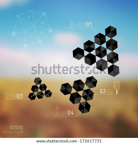 Vector web and mobile interface template. Corporate website design. Minimalistic web multifunctional media backdrop. Vector. Editable. Blurred. Unfocused. Triangles concept. Landscape. Nature. Field. - stock vector