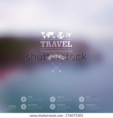 Vector web and mobile interface template. Travel corporate website design. Minimalistic   backdrop. Vector. Editable. Blurred. Triangle badge label, mountain landscape. Options, Icon, typography - stock vector