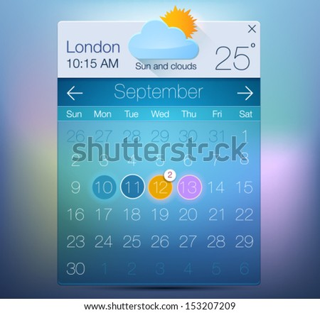 Vector Web and UI Calendar with weather informer. Modern flat style - stock vector